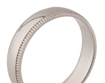 4mm Milgrain Silver Wedding Ring, wedding band