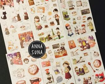 KOREA Coffee Time Sticker, Bullet Journal Sticker, Cafe sticker, Journaling Sticker, Planner Sticker, Coffee Sticker