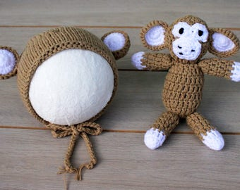 Size 6-12 Months Monkey Bonnet & Monkey Cuddle Buddy Set - Photography Prop