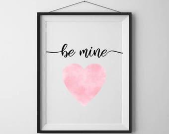 SALE 50% Valentine sign Pink heart print Be mine printable Valentines day decor Love heart print Home wall art
