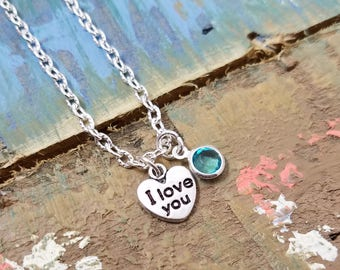 I Love You Necklace, Love Necklace, Gift for Her, Anniversary Gift, Love Jewelry, Love Necklace, Girlfriend Gift, Birthday Gift, BFF Gift