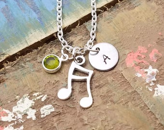 Musical Note Necklace, Music Lover Necklace, Charm Necklace, Personalized Necklace, Music Necklace, Music Jewelry, Music Teacher Gift