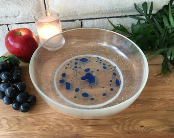 Blue Speckle and Clear Resin Bowl - large salad bowl - fruit bowl - decorative plate / serving plate -- handmade tableware