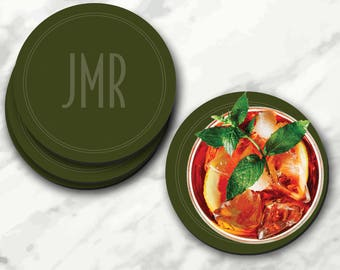 Dark Olive Green, Personalized Coasters, Olive Green, Green Olive, Dark Green, Olive Coasters, Dark Olive, Green Coasters, Olive Green Dark