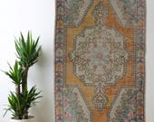 Muted Turkish Runner Rug Oushak Decorative Handwoven Rug Turkish Antique Rug 4.4 ft x 6.8 ft F-178