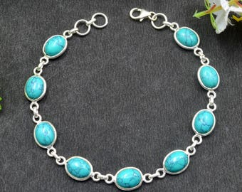 Natural Turquoise Oval Gemstone Chain Bracelet 925 Sterling Silver B69