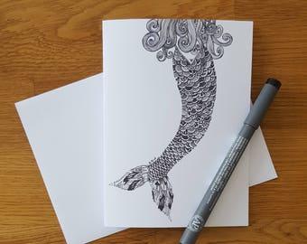 Mermaid card | Mermaid | Greeting card | Birthday card