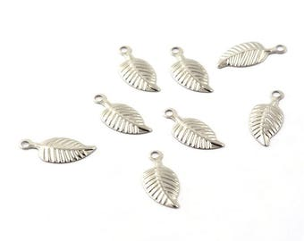 10 sheets, leaf, pendant, charm, stainless steel