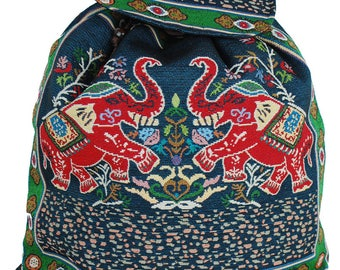 Two Elephant Backpack, Beach Bag, Holiday Bag, 100% Cotton