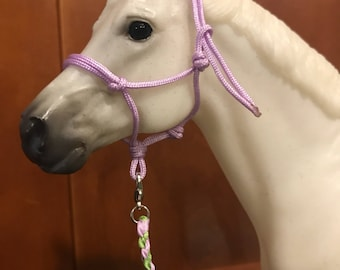 Lavender and Lime Green halter and lead set- model horse