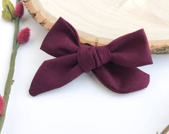 Maroon Baby Headband, Maroon Baby Bow, Burgundy Baby Headband, Maroon Hair Bow, Maroon Headband, Burgundy Bow, pigtail bows, schoolgirl bow