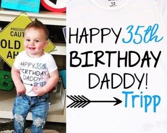 Baby Boy's Happy Birthday Daddy Onesie, Daddy Birthday Onesie, Customized Daddy Birthday Shirt, Personalized Birthday Shirt, Dad gift