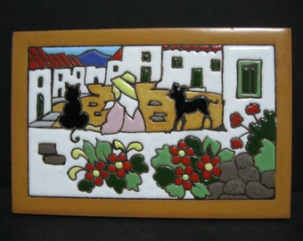 Vintage Spanish Tile, Decorative Castellon Dog and Cat Tile
