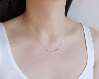 Tiny Pearl necklace, dainty necklace, minimalist necklace, pearl bar necklace, dainty necklace, bridesmaids gift