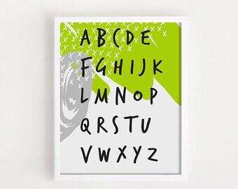 Alphabet poster, Kid alphabet print, Playroom poster, Kid room decor, Toddler poster, Alphabet print, Abc wall art, Baby alphabet print