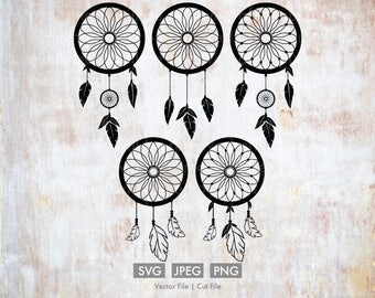 Dream Catchers - Vector / Cut File - Silhouette, Cricut, SVG, PNG, JPEG, Clip Art, Stock Photo, Download, Feathers, Bohemian, Dreamer, Sleep