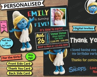 Girls Smurfs Invitation, Smurfs Birthday Invite, Smurfs Birthday Invitation, Smurfs Birthday Party Invite, Smurfette invitation, the smurfs