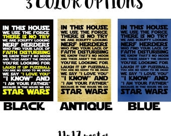 STAR WARS - In This House 11x17 Print - 3 color options