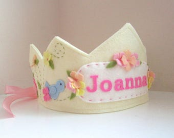 Felt Crown with Bird, Birthday Crown,  Personalized Crown, First Birthday, Girl, Velcro Closure, Photo Prop, Smash Cake