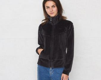Vintage Black NIKE Velour Zip Track Jacket