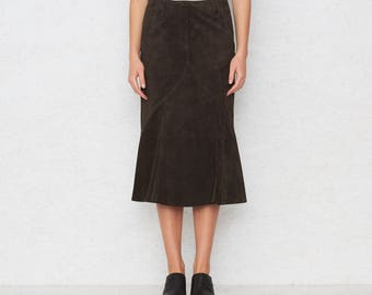 Vintage Brown Midi Suede Skirt/ Size 36
