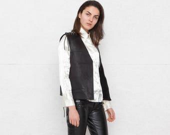 Vintage Black Leather Vest Waistcoat? Size Medium
