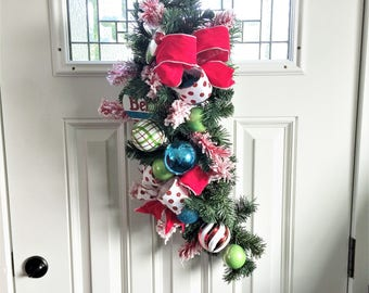 Ornament Evergreen Swag, Winter Swag, Door Wreath, Christmas Swag Wreath, Door Swag, Floral Wreath, Rustic Holiday Swag, Ornament Swag