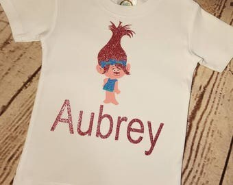 Poppy Troll Shirt, Troll Poppy Outfit, Troll Birthday Shirt, Poppy Birthday Shirt, Girl Troll Birthday, Pink Troll, Glitter Troll,