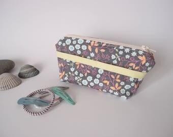 Trousse à barrettes et élastiques à cheveux – Gris à motif fleuri coloré - etui / pochette à barettes