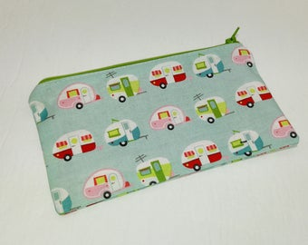 Colorful Camper Vans Novelty Zipper Pouch makeup bag; pencil case; gift for her; cosmetic bag; carry all; gadget case; birthday; trailer; RV