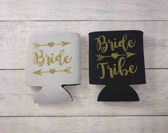 Bride Tribe Drink Coolers Bachelorette Party Favors, Gold Glitter Drink Cooler Favors, Bachelorette Party Survival Kit, Bottle Can Holders