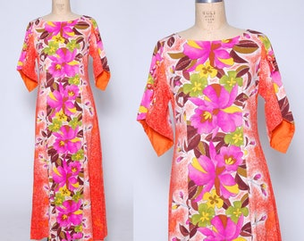Vintage 60s Hawaiian dress / tropical floral dress / Hawaii maxi dress / tiki dress / 60s luau dress