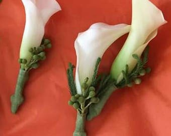 White real touch real feel calla lily boutonniere
