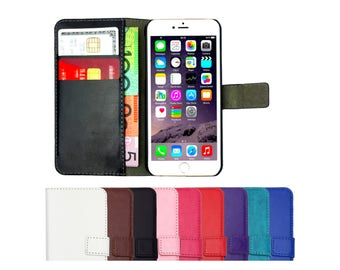 Leather Flip Case Wallet Cover Stand for iPhone 7, 7 Plus, 6, 6S, 6 Plus, 6S Plus, SE, 5, 5S