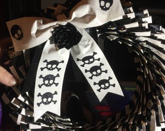 Black, White , Skull Duck Tape Wreath