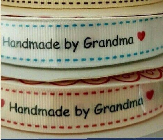 handmade by grandma ribbon labels white and ivory craft With handmade by grandma labels
