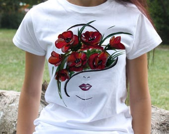 Watercolor Tee - Woman face T-shirt - Fashion women's apparel - Colorful printed tee - Gift Idea