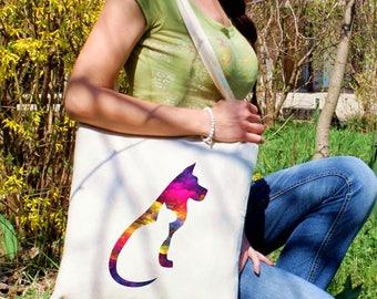Cat and dog tote bag -  Pet shoulder bag - Fashion canvas bag - Colorful printed market bag - Gift Idea