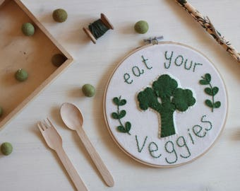 hand embroidered frame themed vegetables