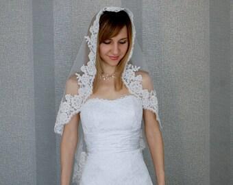 Ivory Fingertip veil with beaded, Fingertip length, Bridal Veil, Mantilla Wedding Veil, One tier veil, Cathedral veil, FREE SHIPPING