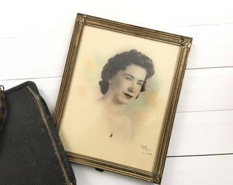 Antique frame vintage wall decor antique wall decor women portrait 1940s decor vanity decor