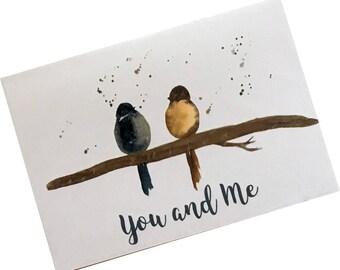 Romantic Greeting Card | Love Card | Birds Greeting Card  | Romance Greeting Card  | Wedding / Engagement / Anniversary Greeting Card