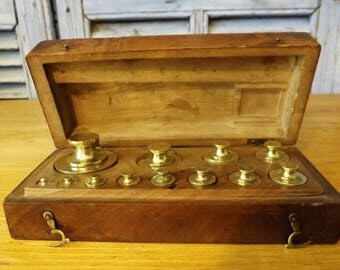 Vintage French Pharmacy / Apothecary  Brass Weights Full Set Boxed