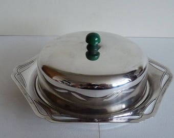 Art Deco siler plate butter dish with lid
