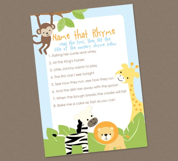 Safari Name That Nursery Rhyme Baby Shower Game With ...