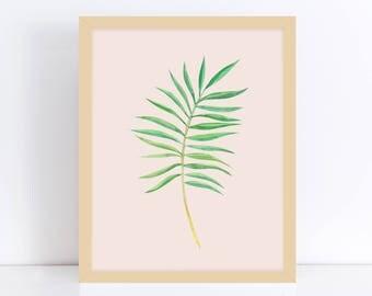 Palm Leaf Art Print, Tropical Decor Print, Palm Leaves Print, Nature Inspired, Palm Home Decor, Home Office Decor, Printable Art, Home Decor