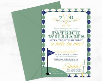 "Golf Lover's: A Hole in One Surprise Party by Arbor Grace Collections, 5""x7"" PRINTABLE Invitation, Golf Invitation, Birthday Party"
