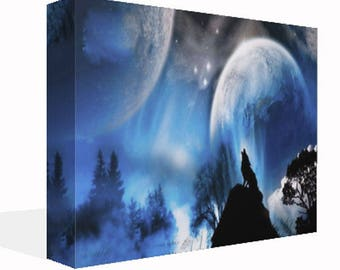 Large Wolf In Moonlight Canvas Print Wall Art Ready To Hang Or Poster Print