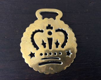 Vintage Crown / Royalty Horse Brass / Farm / Country / Rustic / Bridle