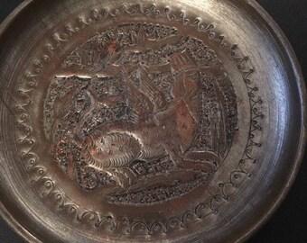 "Brass metal plate trinket tray ashtray, 4-1/2"" mythological creature"